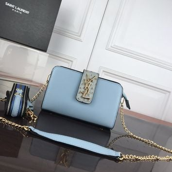 DCCK 1328 Saint Laurent Paris YSL Classic Ostrich pattern with deer pattern Fashion Shoulder bag blue