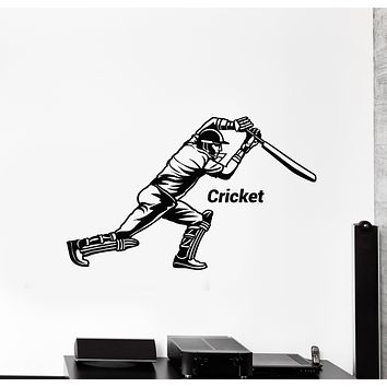 Vinyl Wall Decal Cricket Bat Game Player Sports Room Decor Stickers Mural (g2990)