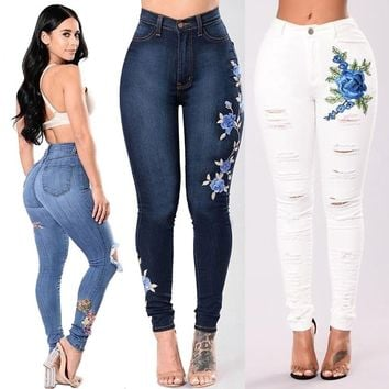 Women's Vintage Embroider Flowers Jeans Sexy Ripped Pencil Stretch Denim Slim Skinny Trousers Jeans