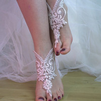Barefoot, pale pink, lace wedding sandals, free shipping!