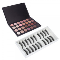 28 Color Eyeshadow Palette and 10 Pairs False Eyelash Makeup Set 003