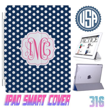 Navy Custom IPhone 5 Monogram @ IPad Air Smart Cover , IPad Mini Smart Cover IPad 4 Case , IPad 3 2 IPhone 5  4 4S Magnetic Sleep Wake #316