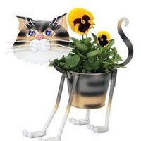 "Stray Tiger Cat - indoor or outdoors (garden) décor plant stands. Holds 4"" grower pot - 11.5"" inches tall"
