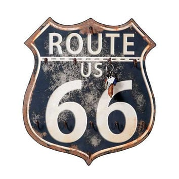 Retro Route 66 Wall SIgn Key Hanger