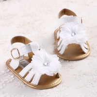 Baby Girls White Flower Sandals