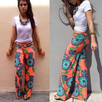 Floral Low Waist Wide Leg Trousers