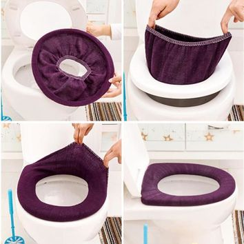 Random color Bathroom Toilet Seat Closestool Washable Soft Warmer Mat Cover Pad Cushion winter toilet accessory supply
