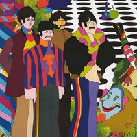 Beatles Yellow Submarine Psychedelic Cast Poster 22x34