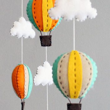 diy baby mobile kit - make your own hot air balloon crib mobile, green orange yellow