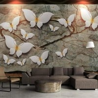 Beibehang Customized Photo Wallpaper 3D Stylish butterfly painting 3d reliefs Non-Woven Bedroom Wall Home decoration Wall paper