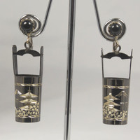 Vintage Japanese Shakudo Water Bucket Earrings Sterling Silver Black