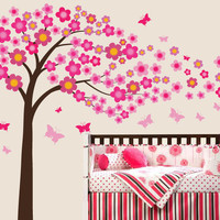 Japanese Cherry Blossom Tree with Flowers Blossoms Vinyl Wall Decal Sticker Reusable Cute Kids Playroom Nursery