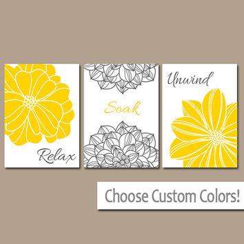 YELLOW Gray BATHROOM Wall Art, Canvas or Prints, Flower Bathroom Artwork, Relax Soak Unwind, Yellow GRAY Pictures, Set of 3 Home Decor
