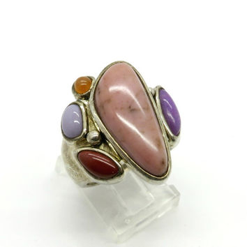 Vintage Rhodonite  & Jasper Ring, Sterling Silver Statement Ring, Size 7