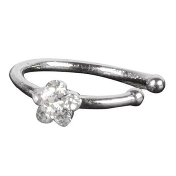 ac DCCKO2Q Small Thin 5 Clear Crystals Flower charm Nose Silver Hoop Stud Ring jewelry