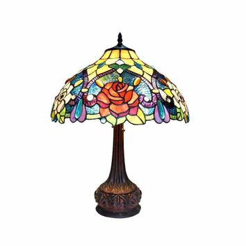 "Erin, Tiffany-Style 2 Light Roses Table Lamp 18"" Shade"