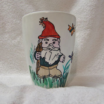 Gnome Planter, Hand painted pot for plants, Upcyled planter