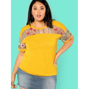 Plus Size Ginger Floral Print Embroidered Mesh Insert Tee