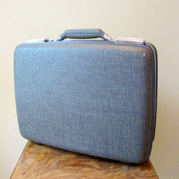 Vintage Luggage Suitcase WOVEN TEXTURE Tri Taper American Tourister 1950s