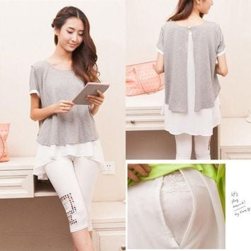 ONETOW Cotton Chiffon Maternity Nursing Tops Breast Feeding Clothes for Pregnant Women 2015 New Summer Fashion Pregnancy Shirts = 1946015556