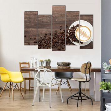 Coffee Cup And Coffee Beans On Wooden Multi Panel Canvas Wall Art