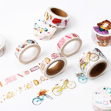 8M length Girl's Accessories washi tape DIY decorative scrapbooking sticker planner masking adhesive tape label school supplies