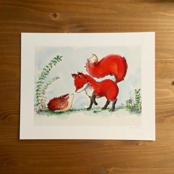 "Fox Watercolor Print ""Fox & Hedgehog Say Hello"" 8x10 by Kendra Minadeo Nursery Art, Baby Art, Nursery Decor"