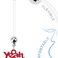 """Yeah Baby"" 14g BioFlex Maternity Pregnancy Pregnant Navel Dangle Bio Flex Navel Belly Ring"