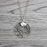 Hope tree charm necklace - bird pendant - alloy necklace necklace - the best friendship