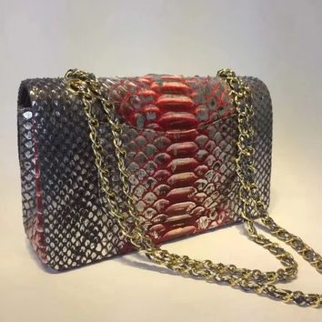 Women's Shoulder Bag 25.5cm,South Africa imports top class real python skin, can be said to be perfect, with imported deer skin