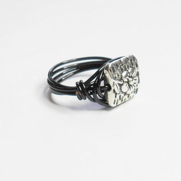 Pewter Silver Flower Hammered Square Black Handmade Wire Wrapped Ring Sizes 1-14