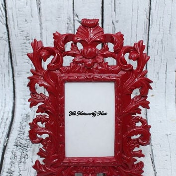 Ornate frame // ornate picture frame// Unique frame // Resin Frame // Red Frame // bedroom decor // Red Decor // Baroque Frame