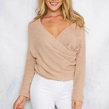 fashion solid color cross sweater