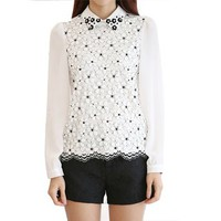 ERLKING Women's Peter Pan collar Floral Applique Spring Blouse