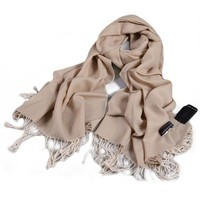 ZLYC Women's Classic 100% Wool Lager Scarf Wrap Shawl with Tassels