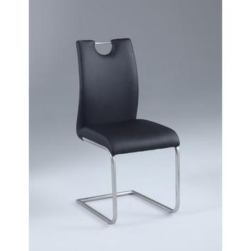 Chintaly Carina Cantilever Side Chair In Brushed Nickle