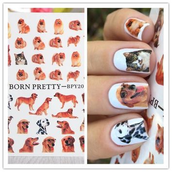 BORN PRETTY Cute Dog Water Decals Manicure Nail Art Transfer Stickers Tattoo Decoration Water Slide