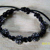 Black and Gunmetal Shambhala Bracelet Shamballa Kids Adults Disco Ball