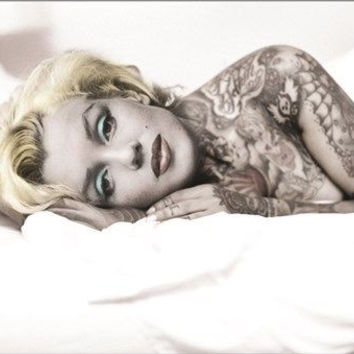 MARILYN MONROE with tattoo UNIQUE BODY ART collectors poster 24X36 HOT NEW