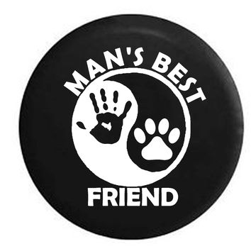 Man's Best Friend Ying Yang Hand Print Jeep Wave Paw PrintRV Camper Jeep Spare Tire Cover