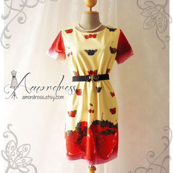 Wonder Orchard - Yellow with Strawberry Mix Berry Cherry Sleeve Dress Wedding Party Working Every Day Dress -Size M-