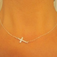 Small Silver Sideways Cross NecklaceBridesmaids by JulianaWJewelry