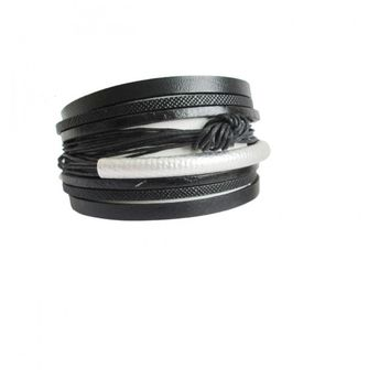 Women's Stacked Leather Cuff Bracelet with Magnetic Closure