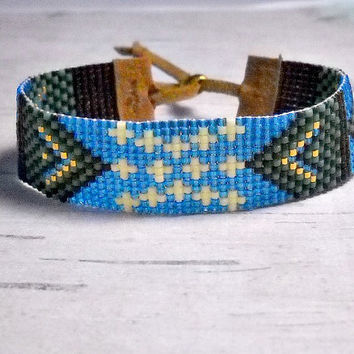 Starry Night Loom Bracelet, Bead Loom Bracelet