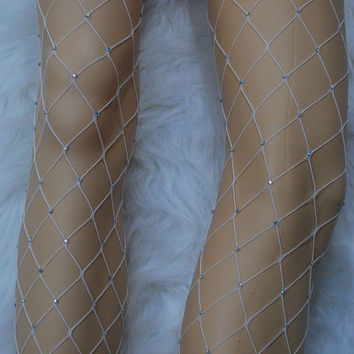High Waist Diamond White Fishnet Tights