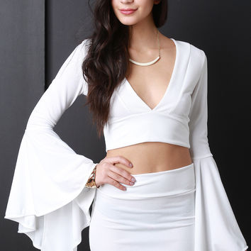 Bell Sleeves V-Neck Crop Top