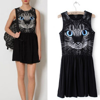 Blue Eyes Cat Dress for Women C