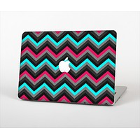 The Sharp Pink & Teal Chevron Pattern Skin Set for the Apple MacBook Pro 15""
