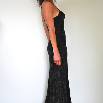 ON SALE Vintage 90s Contempo Casuals Black Crushed Velvet Maxi Dress (size xs, small)