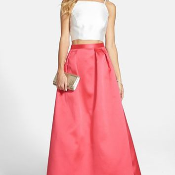 Women's Xscape Beaded Two-Piece Satin Ballgown,